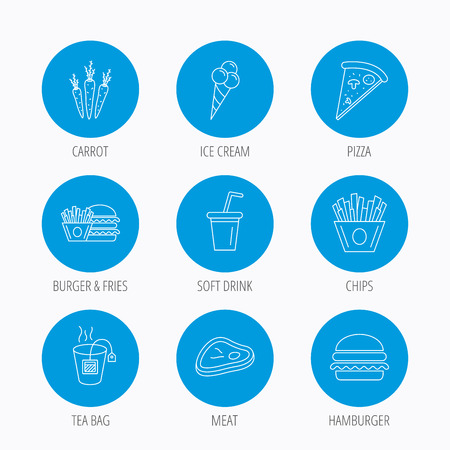ice tea: Hamburger, pizza and soft drink icons. Tea bag, meat and chips fries linear signs. Ice cream, carrot icons. Blue circle buttons set. Linear icons.