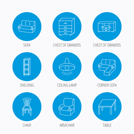 shelving: Corner sofa, table and armchair icons. Chair, ceiling lamp and chest of drawers linear signs. Shelving, furniture flat line icons. Blue circle buttons set. Linear icons.