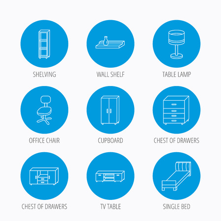 chest wall: Single bed, TV table and shelving icons. Office chair, table lamp and cupboard linear signs. Wall shelf, chest of drawers icons. Blue circle buttons set. Linear icons. Illustration