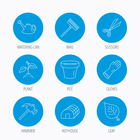 hothouse: Sprout plant, scissors and pot icons. Gloves, rake and watering can linear signs. Hothouse, leaf and hammer flat line icons. Blue circle buttons set. Linear icons. Illustration
