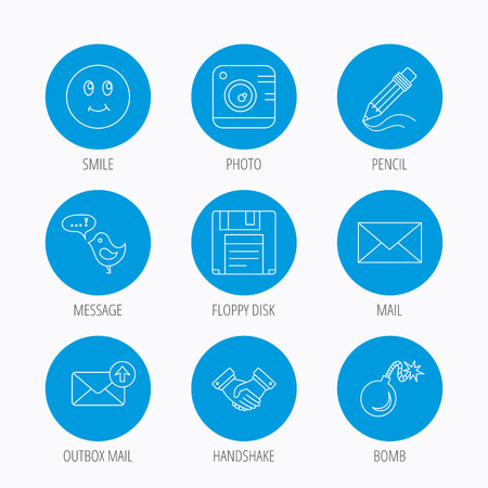 Photo camera, pencil and handshake icons. Inbox e-mail, message speech bubble and smile linear signs. Blue circle buttons set. Linear icons.