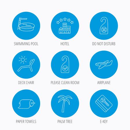 Hotel, swimming pool and beach deck chair icons. E-key, do not disturb and clean room linear signs. Paper towels, palm tree and airplane icons. Blue circle buttons set. Linear icons. Illustration