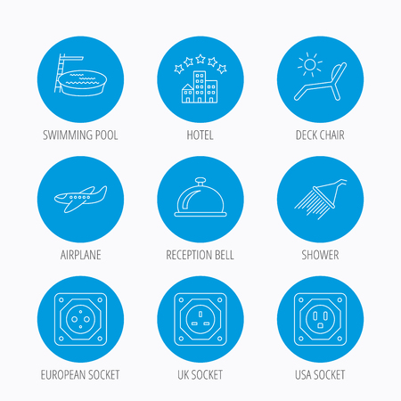 hotel pool: Hotel, swimming pool and beach deck chair icons. Reception bell, shower and airplane linear signs. European, UK and USA socket icons. Blue circle buttons set. Linear icons.
