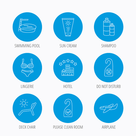 5 door: Hotel, swimming pool and beach deck chair icons. Sun cream, do not disturb and clean room linear signs. Shampoo and airplane icons. Blue circle buttons set. Linear icons.