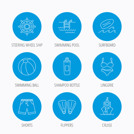 swimming shorts: Surfboard, swimming pool and trunks icons. Beach ball, lingerie and shorts linear signs. Flippers, cruise ship and shampoo icons. Blue circle buttons set. Linear icons.