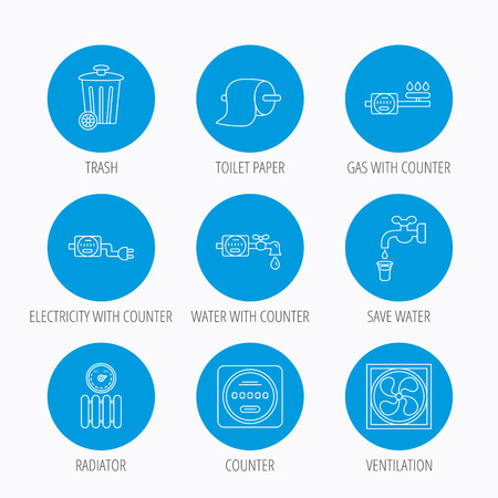 Ventilation, radiator and water counter icons. Toiler paper, gas and electricity counters linear signs. Trash icon. Blue circle buttons set. Linear icons. Illustration