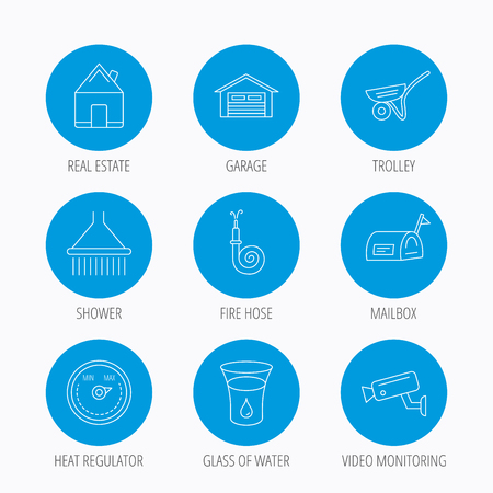 Real estate, garage and heat regulator icons. Trolley, fire hose and mailbox linear signs. Shower, glass of water and video monitoring icons. Blue circle buttons set. Linear icons. Illustration