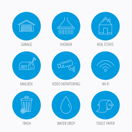 Wi-fi, video monitoring and real estate icons. Toilet paper, shower and water drop linear signs. Trash, garage flat line icons. Blue circle buttons set. Linear icons. Illustration
