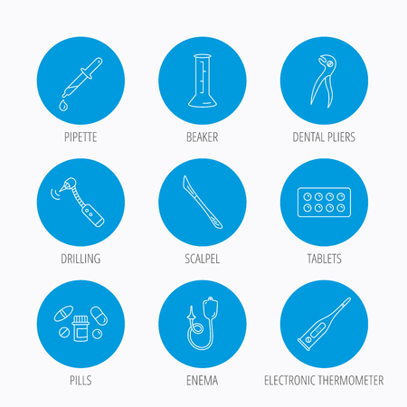 enema: Thermometer, pills and dental pliers icons. Tablets, drilling tool and beaker linear signs. Enema, scalpel and pipette drop flat line icons. Blue circle buttons set. Linear icons.
