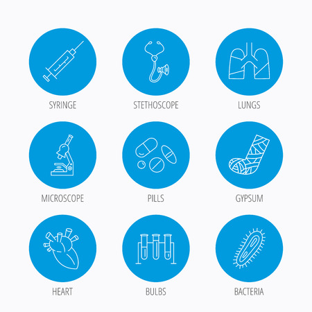 bacteria in heart: Broken foot, lungs and syringe icons. Stethoscope, pills and microscope linear signs. Bacteria, heart and lab bulbs flat line icons. Blue circle buttons set. Linear icons. Illustration
