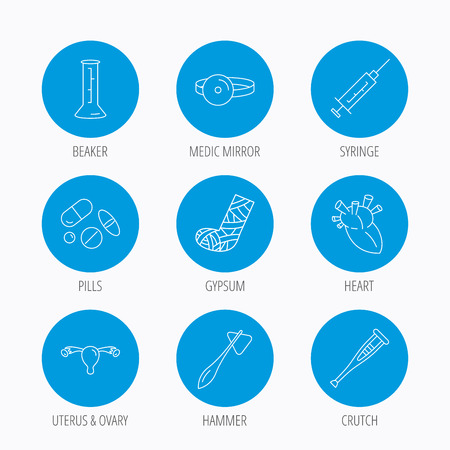 otorhinolaryngologist: Syringe, beaker and pills icons. Crutch, medical hammer and mirror linear signs. Heart, broken leg and uterus ovary icons. Blue circle buttons set. Linear icons. Illustration