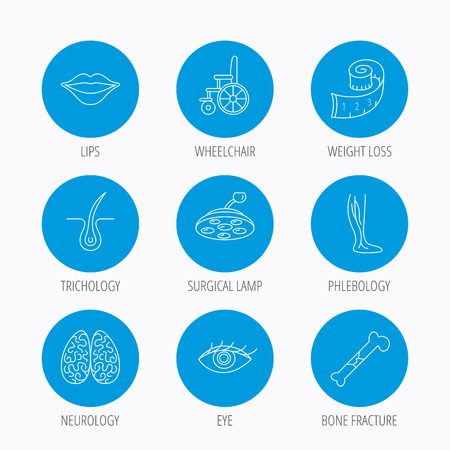vision loss: Eye, neurology brain and vein varicose icons. Wheelchair, bone fracture and trichology linear signs. Weight loss, lips and surgical lamp icons. Blue circle buttons set. Linear icons. Illustration