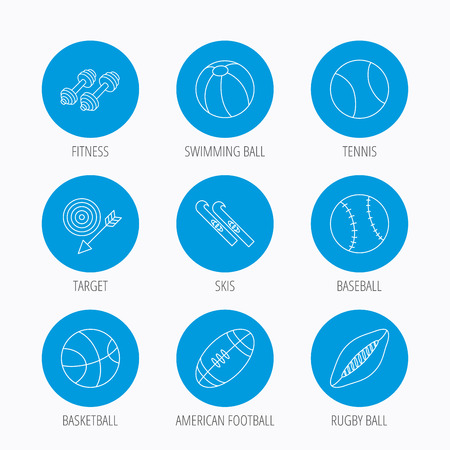 pilates ball: Sport fitness, tennis and basketball icons. Baseball, skis and American footmal signs. Rugby, swimming or pilates ball icons. Blue circle buttons set. Linear icons.
