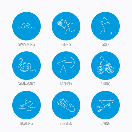 """pilates ball"": Swimming, tennis and golf icons. Biking, diving and gymnastics linear signs. Archery, boating and bobsleigh icons. Blue circle buttons set. Linear icons. Illustration"