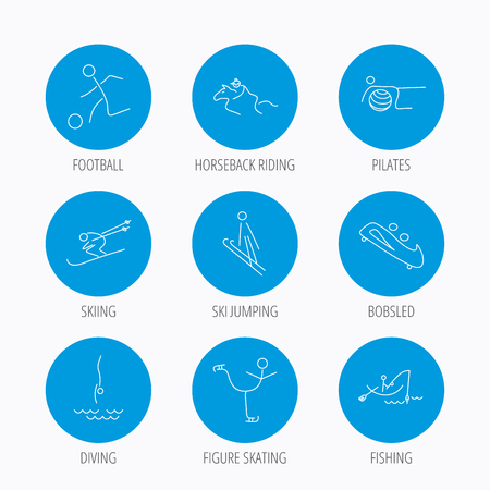 bobsled: Pilates, football and skiing icons. Fishing, diving and figure skating linear signs. Ski jumping, horseback riding and bobsled icons. Blue circle buttons set. Linear icons. Illustration