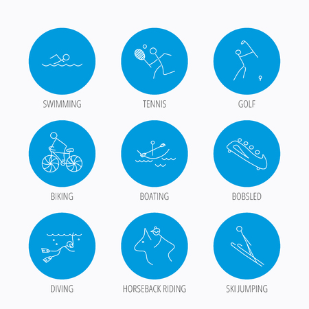 bobsleigh: Swimming, tennis and golf icons. Biking, diving and horseback riding linear signs. Ski jumping, boating and bobsleigh icons. Blue circle buttons set. Linear icons.