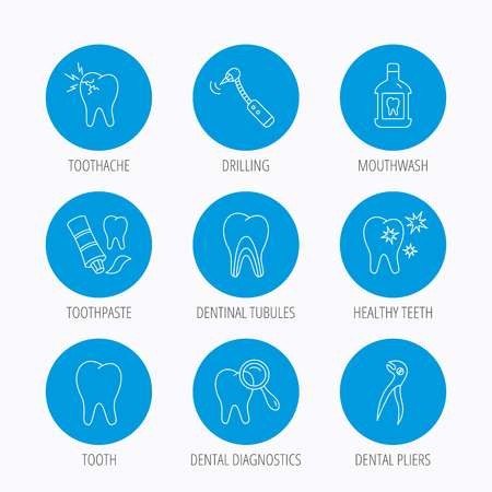 tubules: Tooth, stomatology and toothache icons. Mouthwash, dental pliers and diagnostics linear signs. Dentinal tubules, drilling icons. Blue circle buttons set. Linear icons.