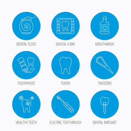 mouthwash: Dental floss, tooth and implant icons. Mouthwash, x-ray and toothpaste linear signs. Electric toothbrush. Blue circle buttons set. Linear icons.