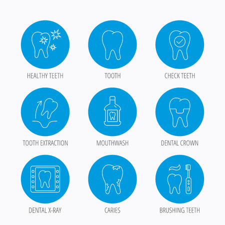 mouthwash: Tooth, dental crown and mouthwash icons. Caries, tooth extraction and hygiene linear signs. Brushing teeth flat line icon. Blue circle buttons set. Linear icons.