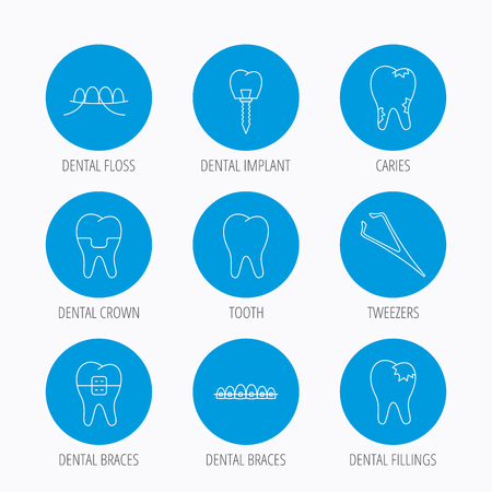 fillings: Dental implant, floss and tooth icons. Braces, fillings and tweezers linear signs. Caries icon. Blue circle buttons set. Linear icons. Illustration