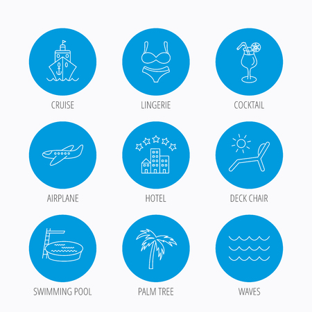 hotel pool: Cruise, waves and cocktail icons. Hotel, palm tree and swimming pool linear signs. Airplane, deck chair and lingerie flat line icons. Blue circle buttons set. Linear icons.