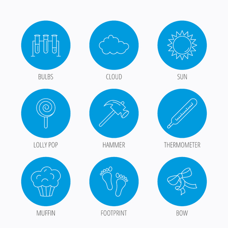 analyses: Footprint, lab bulbs and thermometer icons. Muffin, bow and lolly pop linear signs. Cloud and sun flat line icons. Blue circle buttons set. Linear icons.