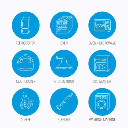 auto washing: Microwave oven, washing machine and blender icons. Refrigerator fridge, dishwasher and multicooker linear signs. Coffee icon. Blue circle buttons set. Linear icons. Illustration