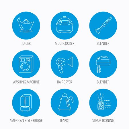auto washing: Washing machine, teapot and blender icons. Refrigerator fridge, juicer and steam ironing linear signs. Hair dryer, juicer icons. Blue circle buttons set. Linear icons.