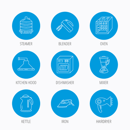 electric blue: Dishwasher, kettle and mixer icons. Oven, steamer and iron linear signs. Hair dryer, blender and kitchen hood icons. Blue circle buttons set. Linear icons.
