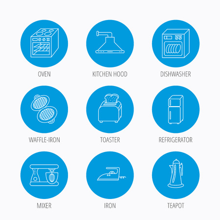 auto washing: Dishwasher, refrigerator fridge and blender icons. Kitchen hood, mixer and toaster linear signs. Oven, teapot and waffle-iron icons. Blue circle buttons set. Linear icons. Illustration