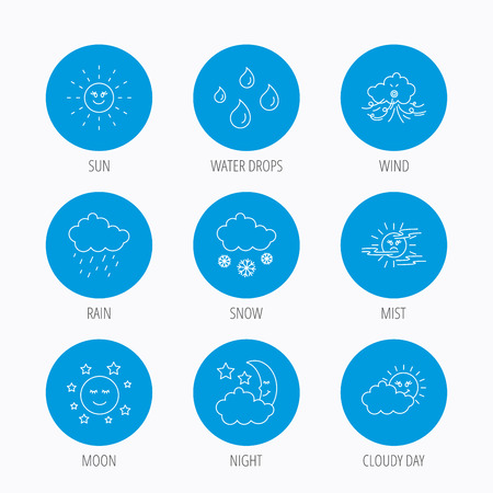 mist: Weather, sun and rain icons. Moon night, clouds and mist linear signs. Wind, cloudy day and water drops flat line icons. Blue circle buttons set. Linear icons.