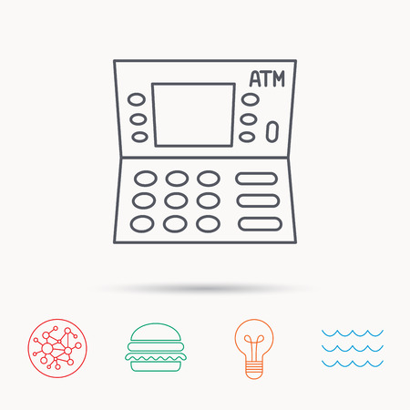 withdrawal: ATM icon. Automatic cash withdrawal sign. Global connect network, ocean wave and burger icons. Lightbulb lamp symbol. Illustration