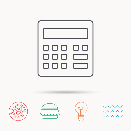 wave equality: Calculator icon. Accounting sign. Balance calculation symbol. Global connect network, ocean wave and burger icons. Lightbulb lamp symbol.