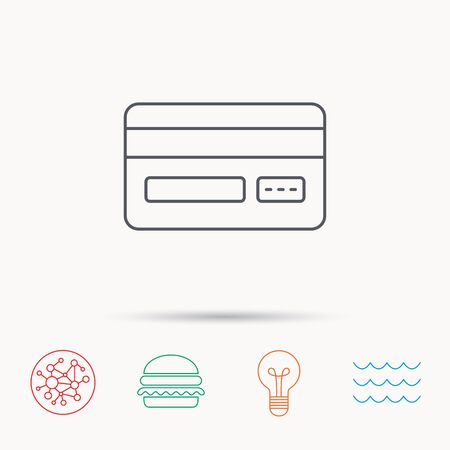 network card: Credit card icon. Shopping sign. Global connect network, ocean wave and burger icons. Lightbulb lamp symbol.