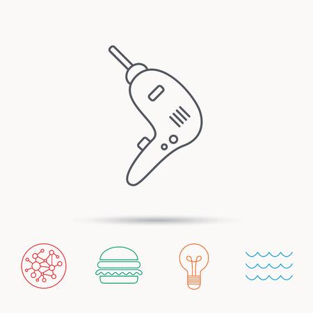 Boor hulpmiddelpictogram. Elektrisch jack-hamerbord. Globaal verbind netwerk, oceaangolf en hamburgerpictogrammen. Gloeilamp lamp symbool. Stock Illustratie