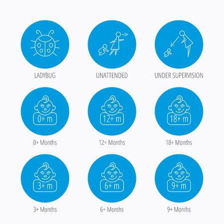 supervisión: Niño infantil, mariquita y bebé del niño iconos. 0-18 meses signos lineales niño. Desatendida, iconos supervisión padres. Botones de círculo azul establecen. Iconos lineales. Vectores