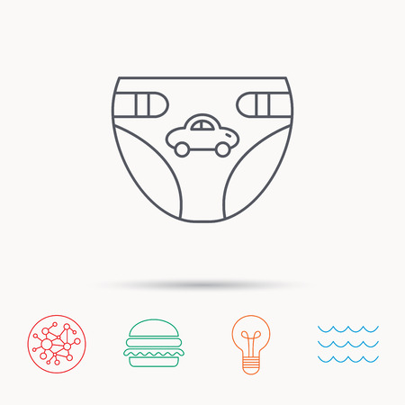 child protection: Diaper with car icon. Child underwear sign. Newborn protection symbol. Global connect network, ocean wave and burger icons. Lightbulb lamp symbol. Illustration