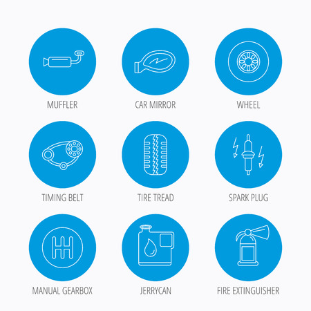 fire plug: Wheel, car mirror and timing belt icons. Fire extinguisher, jerrycan and manual gearbox linear signs. Muffler, spark plug icons. Blue circle buttons set. Linear icons.