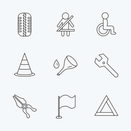 black and white cone: Tire tread, traffic cone and wrench key icons. Emergency triangle, flag and pliers linear signs. Disabled person icons. Linear black icons on white background.