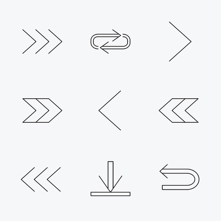 background next: Arrows icons. Download, repeat linear signs. Next, back arrows flat line icons. Linear black icons on white background.