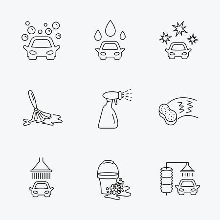 autolavaggio: icone autolavaggio. Stazione di pulizia automatica segni lineari. Secchio con bolle di schiuma, spugna e spray icone linea piatta. Lineari icone nere su sfondo bianco.