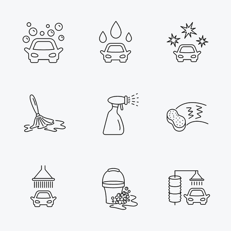 lavado: iconos de lavado de coches. Estación de limpieza automática de señales lineales. Cubo con burbujas de espuma, esponja y el aerosol iconos de líneas planas. iconos negros lineales sobre fondo blanco.
