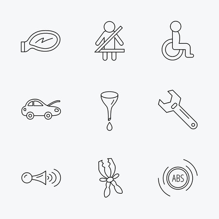 tool belt: Car mirror repair, oil change and wrench tool icons. ABS, klaxon signal and fasten seat belt linear signs. Disabled person icons. Linear black icons on white background. Illustration