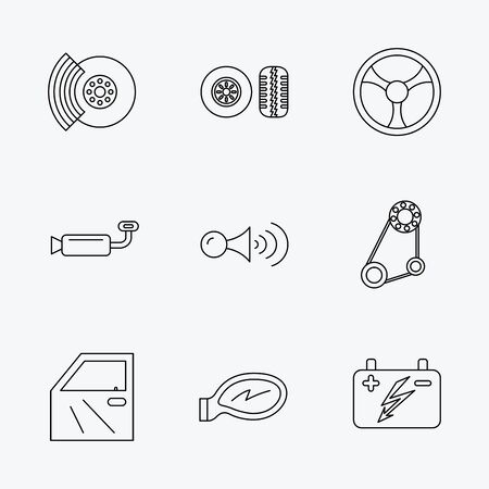 brakes: Accumulator, brakes and steering wheel icons. Generator belt, klaxon signal and car mirron linear signs. Door icon. Linear black icons on white background. Illustration