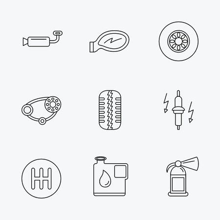 fire plug: Wheel, car mirror and timing belt icons. Fire extinguisher, jerrycan and manual gearbox linear signs. Muffler, spark plug icons. Linear black icons on white background. Illustration