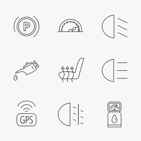 heated: Motor oil, passing fog lights and gps icons. Speedometer, parking and gas station linear signs. Heated seats icon. Linear black icons on white background.