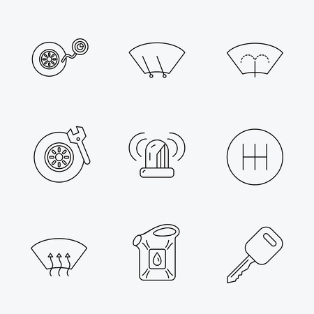 wiper: Manual gearbox, tire service and car key icons. Siren alarm, jerrycan and wheel pressure linear signs. Window washing, wiper and heated icons. Linear black icons on white background. Illustration
