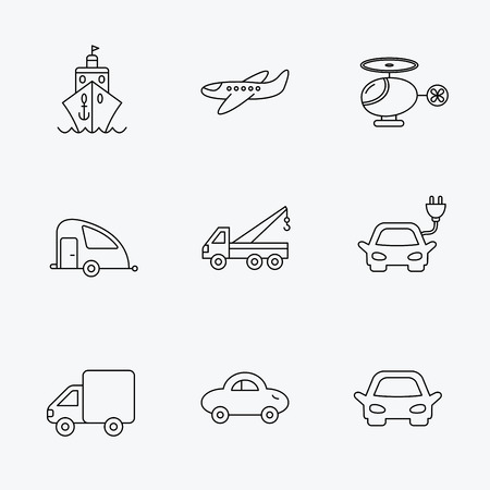 planos electricos: Transportation icons. Car, ship and truck linear signs. Airplane, helicopter and evacuator flat line icons. Linear black icons on white background. Vectores