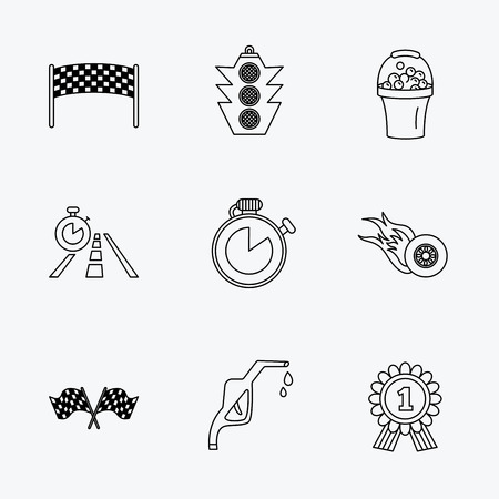 checkpoint: Race flags and speed icons. Winner medal, checkpoint and traffic lights linear signs. Timer and petrol station flat line icons. Linear black icons on white background.