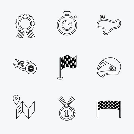 race winner: Race flag and speed icons. Winner medal, motorcycle helmet and timer linear signs. Map navigation flat line icons. Linear black icons on white background.